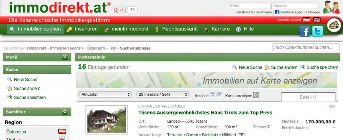 Screenshot von immodirekt.at mit einer Verkaufsanzeige für ein Haus in Tösens