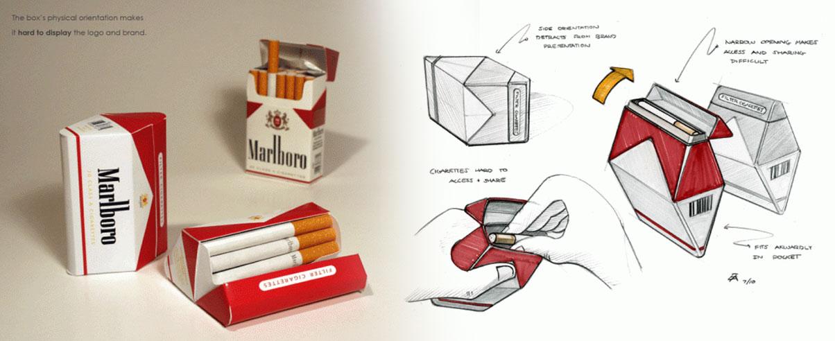 Entstehungsprozess eines neuen Designs für eine Zigarettenschachtelmit Skizzen